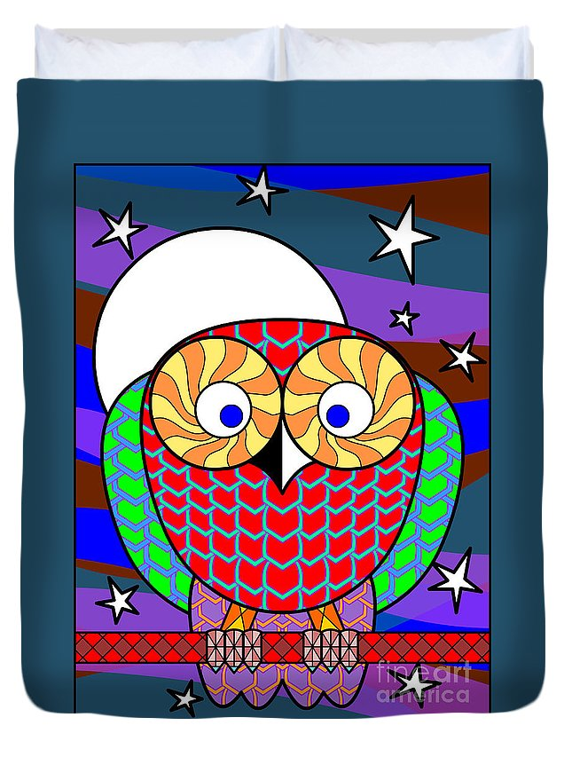Owl Duvet Cover featuring the digital art Colourful Owl by Santi Goma Rodriguez