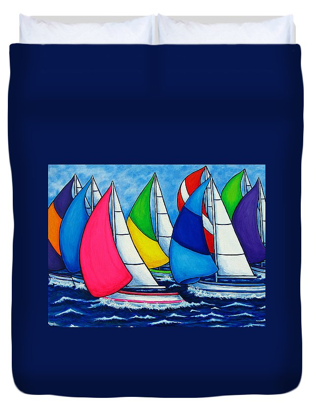 Boats Duvet Cover featuring the painting Colourful Regatta by Lisa Lorenz