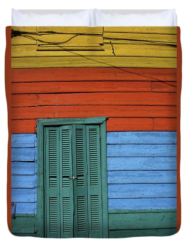 Buenos Aires Duvet Cover featuring the photograph Colourful Shutters La Boca Buenos Aires by James Brunker