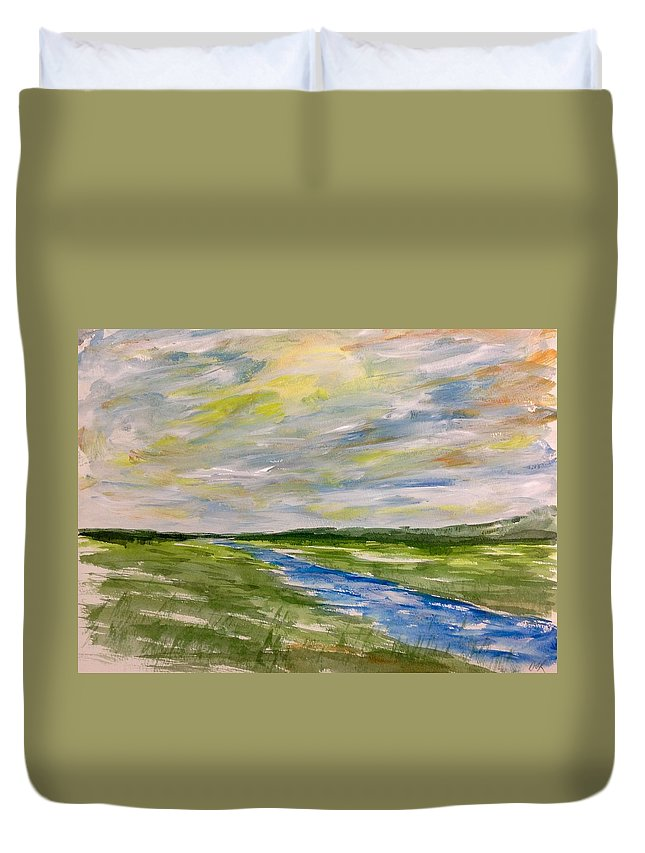 Abstract Watercolour Landscape Painting Duvet Cover featuring the painting Colourful Sky Over The Creek by Desmond Raymond