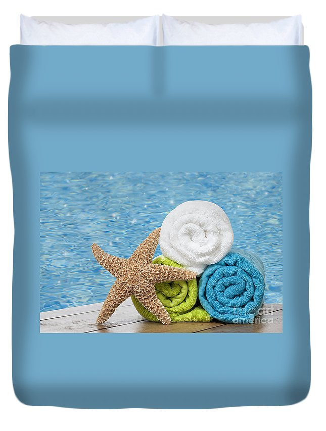 Summer Duvet Cover featuring the photograph Colourful Towels by Amanda Elwell