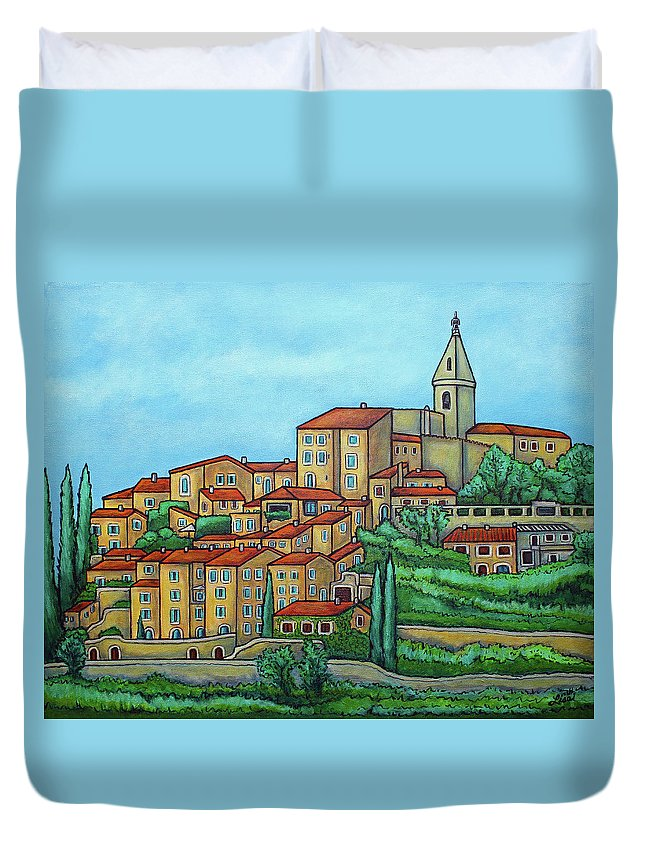 Provence Duvet Cover featuring the painting Colours of Crillon-le-Brave, Provence by Lisa Lorenz