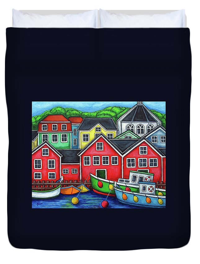 Nova Scotia Duvet Cover featuring the painting Colours of Lunenburg by Lisa Lorenz