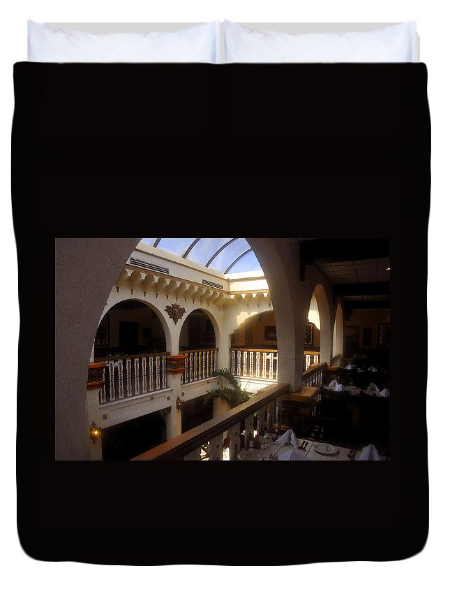 Columbia Restaurant Duvet Cover featuring the painting Columbia Restaurant Work Number One by David Lee Thompson