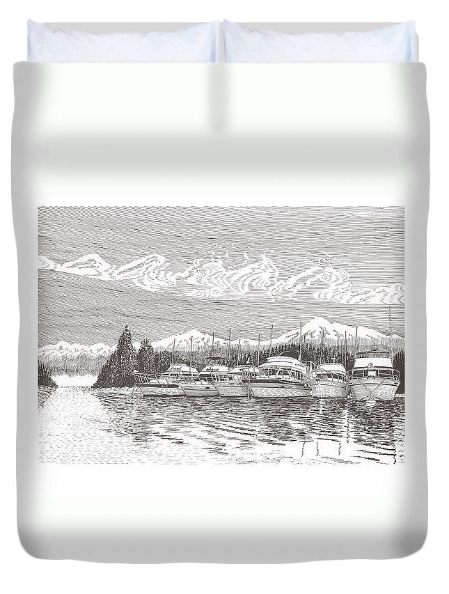Marine Paintings Marine Art. Canvas Prints Of Boats. Prints Of Boats. Prints Of Waterfront Art. Canvas Prints Of Yachts. Framed Marine Transportation Art Duvet Cover featuring the drawing Columbia River Raft Up by Jack Pumphrey