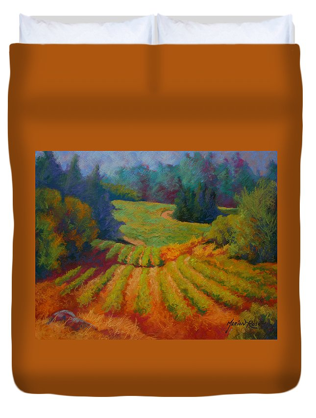 Pastel Duvet Cover featuring the painting Columbia Valley Vineyard by Marion Rose