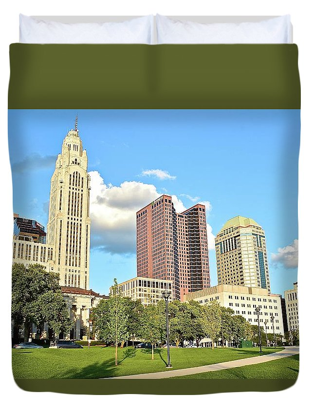 Columbus Duvet Cover featuring the photograph Columbus From The Park by Frozen in Time Fine Art Photography