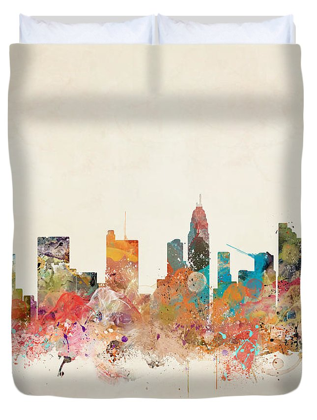 Columbus Ohio Duvet Cover featuring the painting Columbus Ohio Skyline by Bri Buckley
