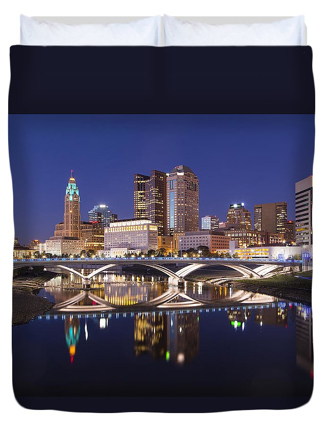 Columbus Duvet Cover featuring the photograph Columbus Skyline Reflection by Alan Raasch