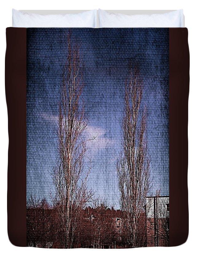 Aspen Duvet Cover featuring the photograph Column Aspen 2 by Esko Lindell