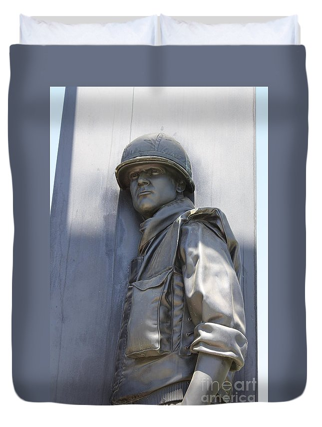 Combat Airman Duvet Cover featuring the photograph Combat Airman by Tommy Anderson