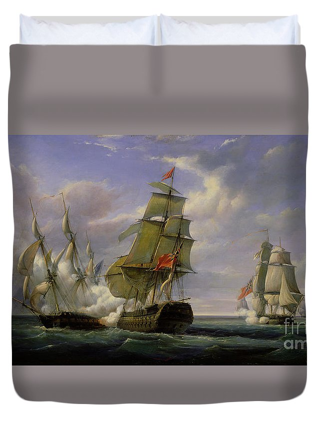 Combat Duvet Cover featuring the painting Combat Between The French Frigate La Canonniere And The English Vessel The Tremendous by Pierre Julien Gilbert