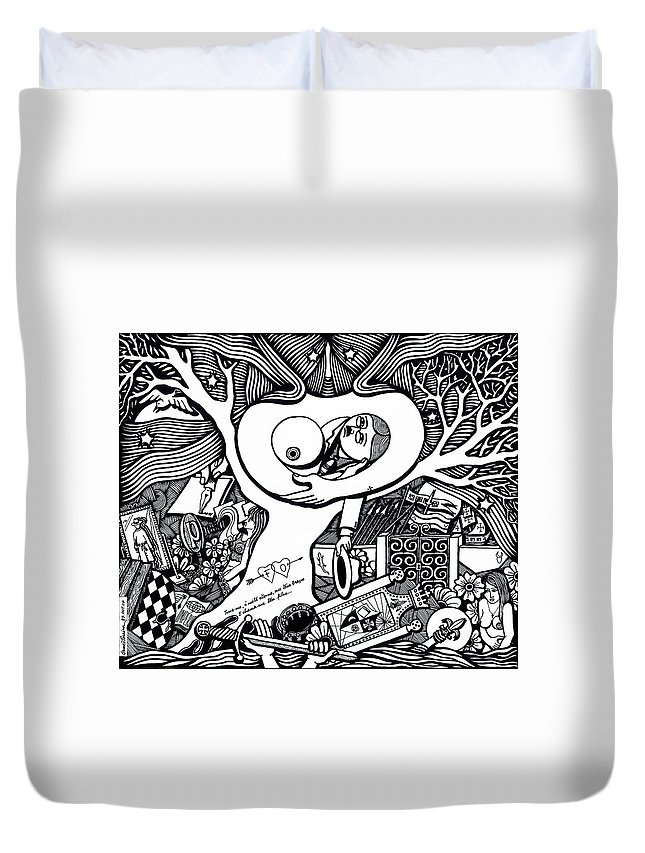 Drawing Duvet Cover featuring the drawing Come Ancient And Identical Night by Jose Alberto Gomes Pereira