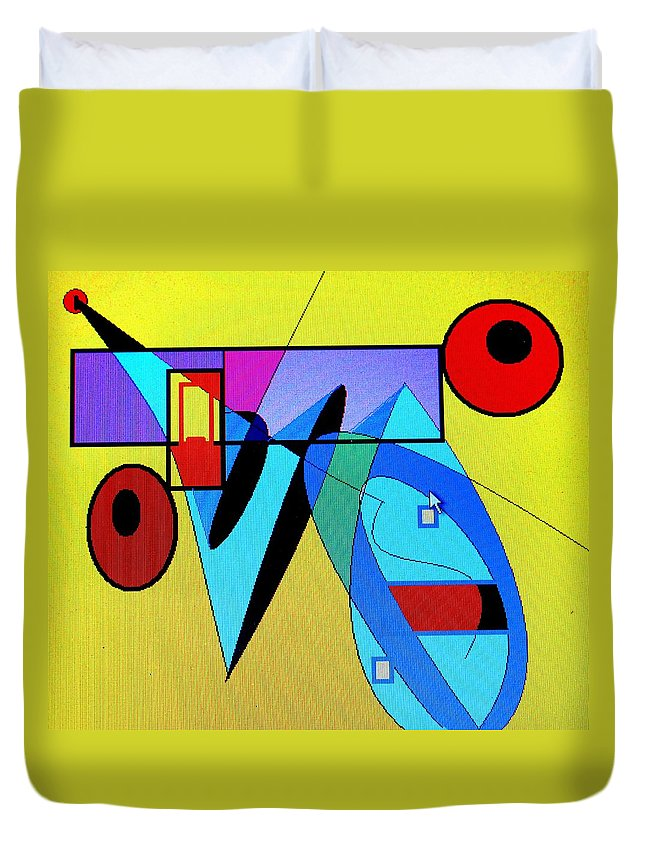Horn Duvet Cover featuring the digital art Come Blow Your Horn by Ian MacDonald