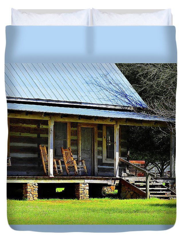 Southern Duvet Cover featuring the photograph Come On Up - Sit A Spell by Laura Ragland