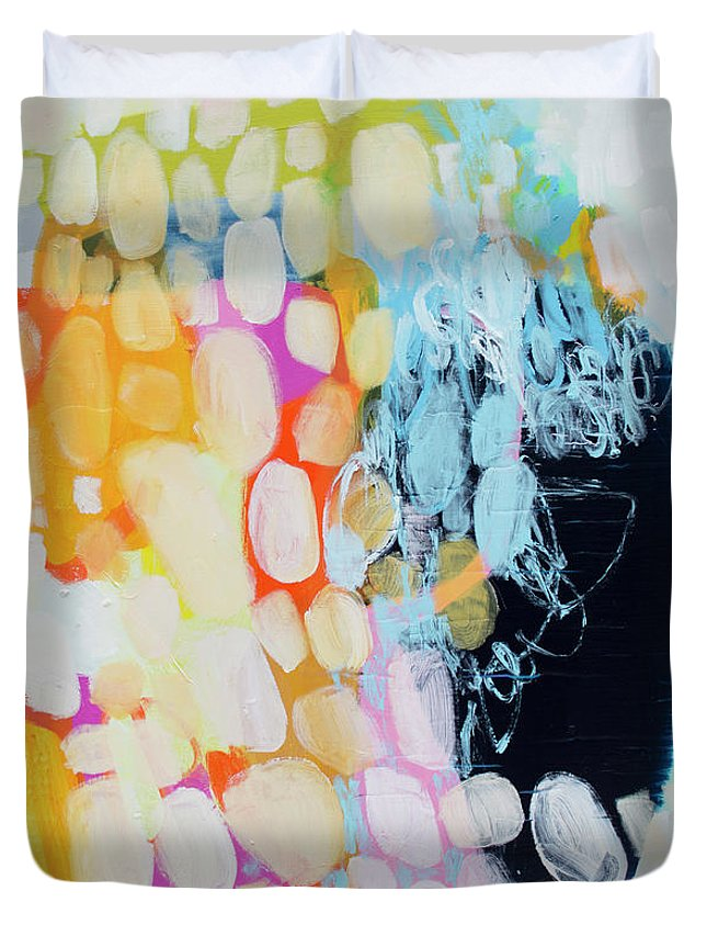 Abstract Duvet Cover featuring the painting Come To Bed by Claire Desjardins