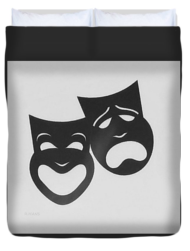 Comedy And Tragedy Duvet Cover featuring the photograph Comedy N Tragedy B W by Rob Hans