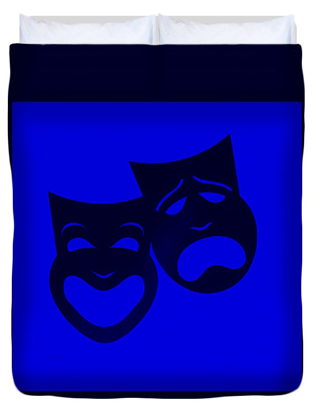 Comedy And Tragedy Duvet Cover featuring the photograph Comedy N Tragedy Blue by Rob Hans
