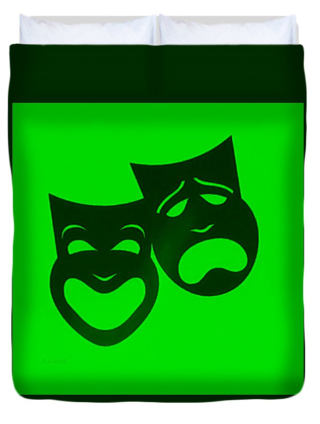 Comedy And Tragedy Duvet Cover featuring the photograph Comedy N Tragedy Neg Green by Rob Hans