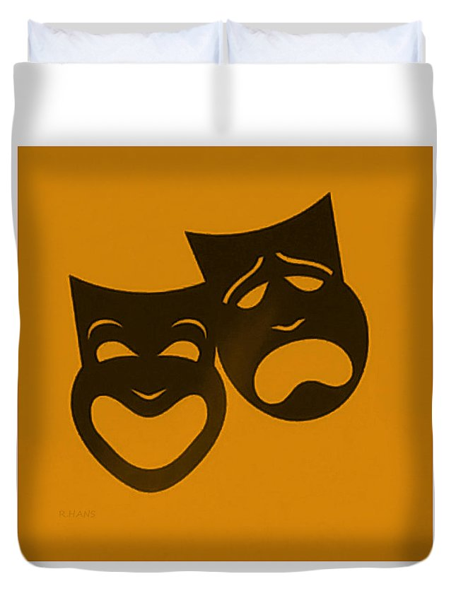 Comedy And Tragedy Duvet Cover featuring the photograph Comedy N Tragedy Orange by Rob Hans