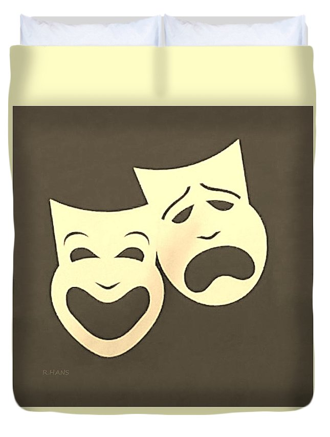 Comedy And Tragedy Duvet Cover featuring the photograph Comedy N Tragedy Sepia by Rob Hans