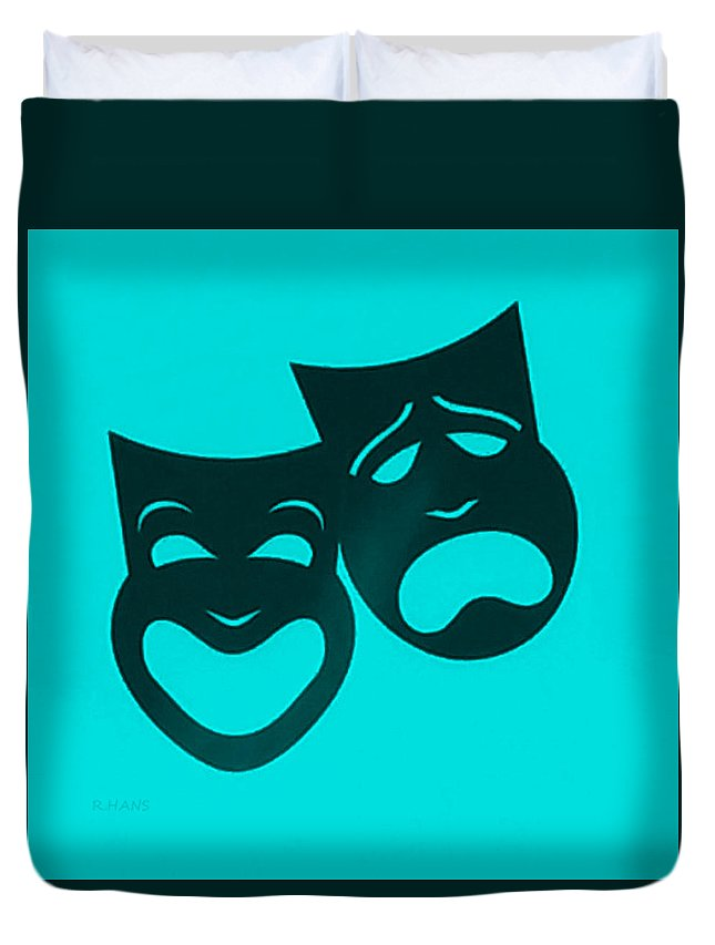 Comedy And Tragedy Duvet Cover featuring the photograph Comedy N Tragedy Turquoise by Rob Hans