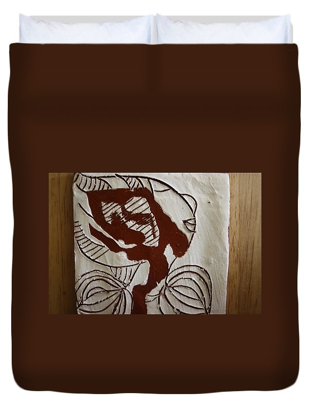 Jesus Duvet Cover featuring the ceramic art Comfort - Tile by Gloria Ssali