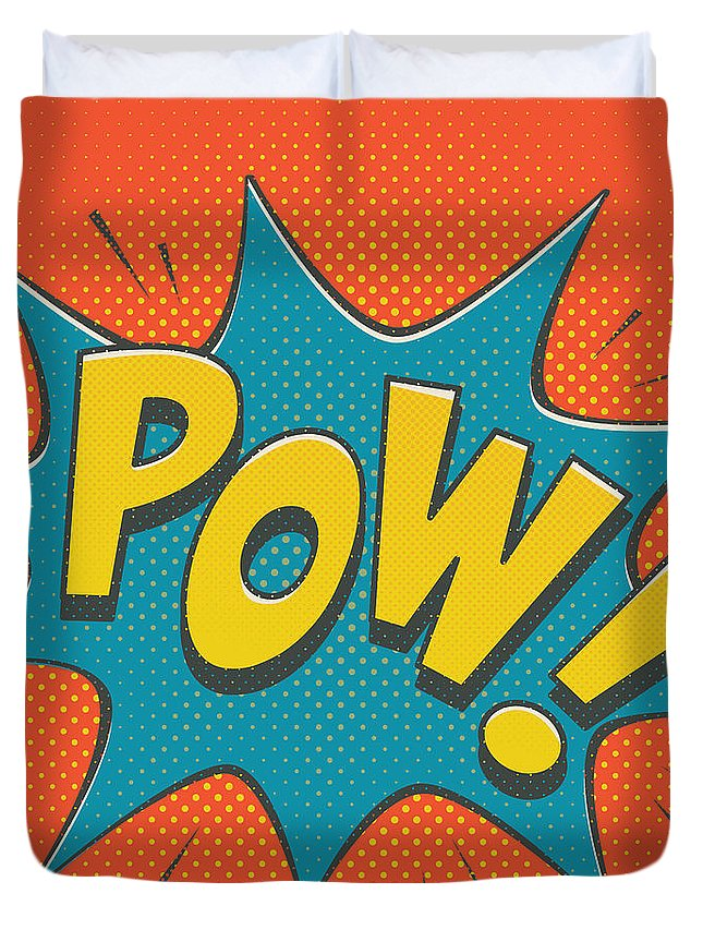 Comic Duvet Cover featuring the digital art Comic Pow by Mitch Frey