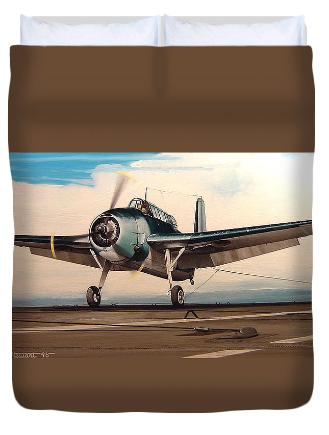 Painting Duvet Cover featuring the painting Coming Aboard by Marc Stewart