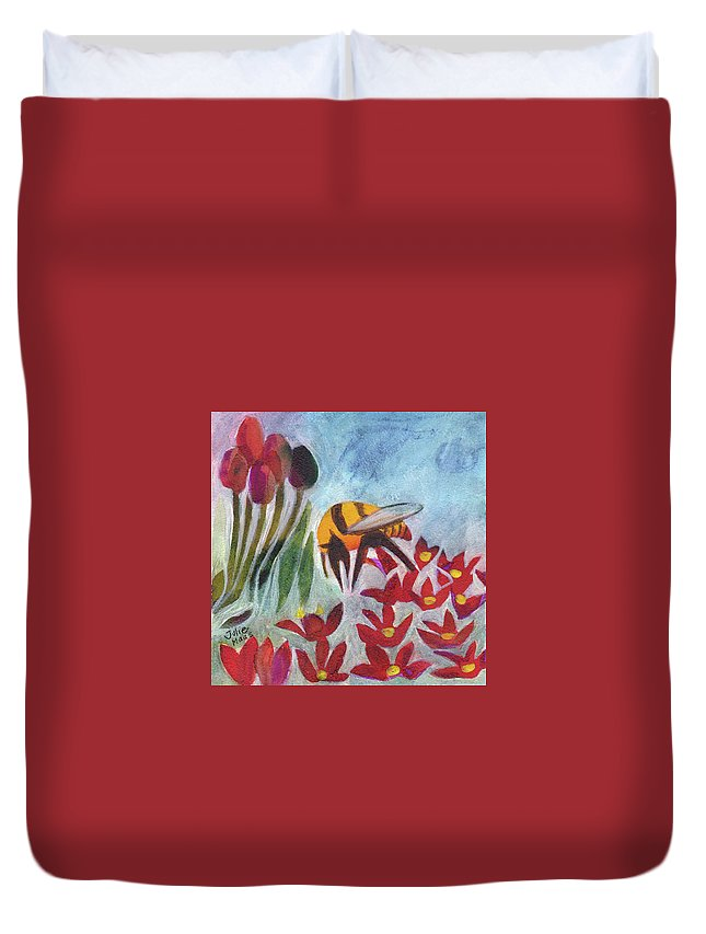 Bee Duvet Cover featuring the painting Coming In For A Landing by Julie Maas