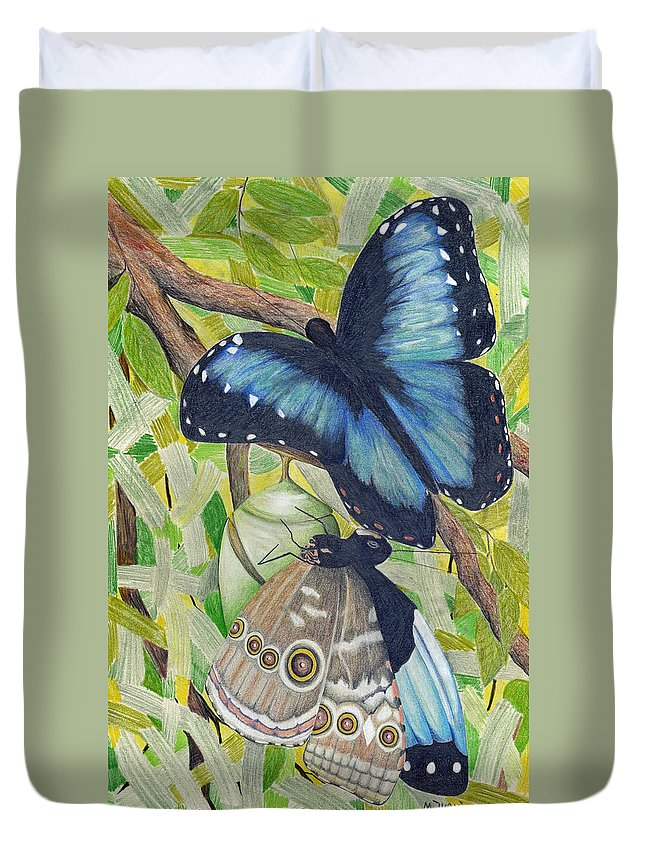 Butterfly Duvet Cover featuring the painting Coming Out by Mary Tuomi