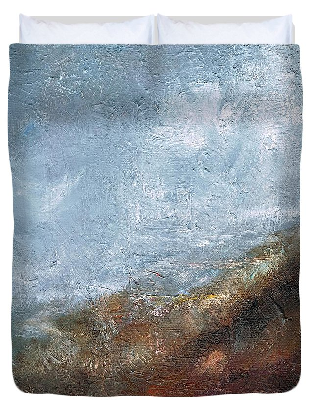 Abstract Duvet Cover featuring the painting Coming Out Of A Fog by Frances Marino