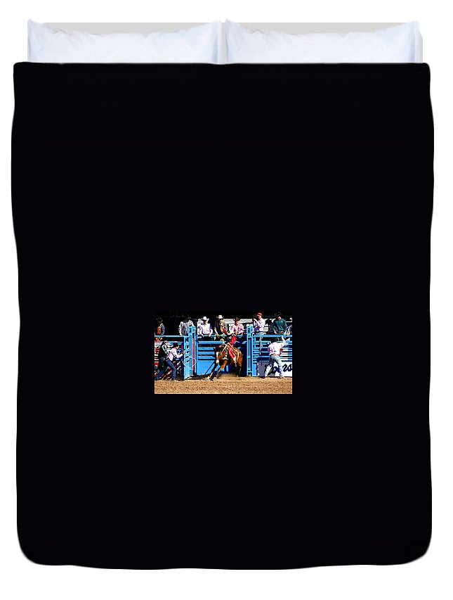 Rodeo. Rodeos Duvet Cover featuring the photograph Coming Out Party by Joe Kozlowski