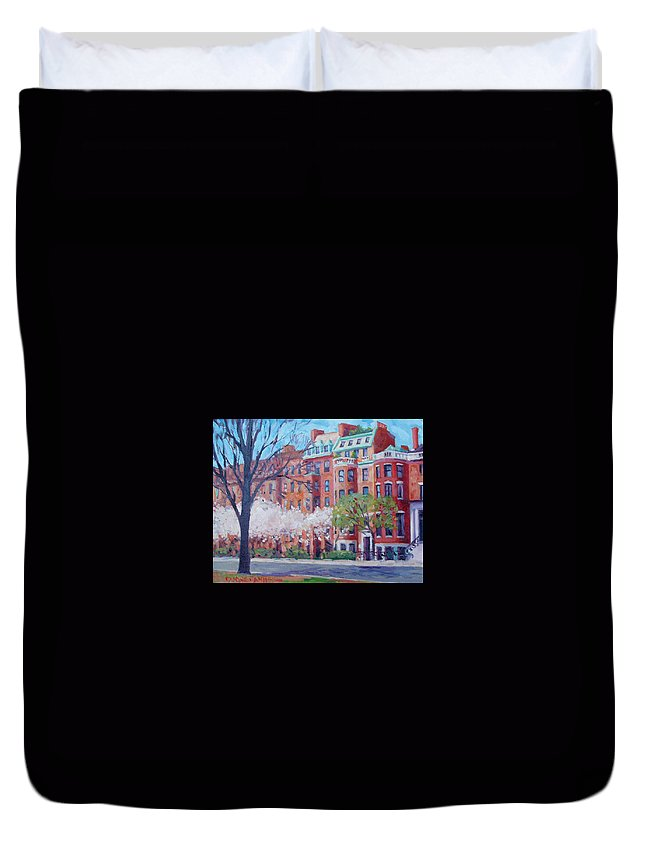 Boston Duvet Cover featuring the painting Comm Ave Magnolias by Dianne Panarelli Miller