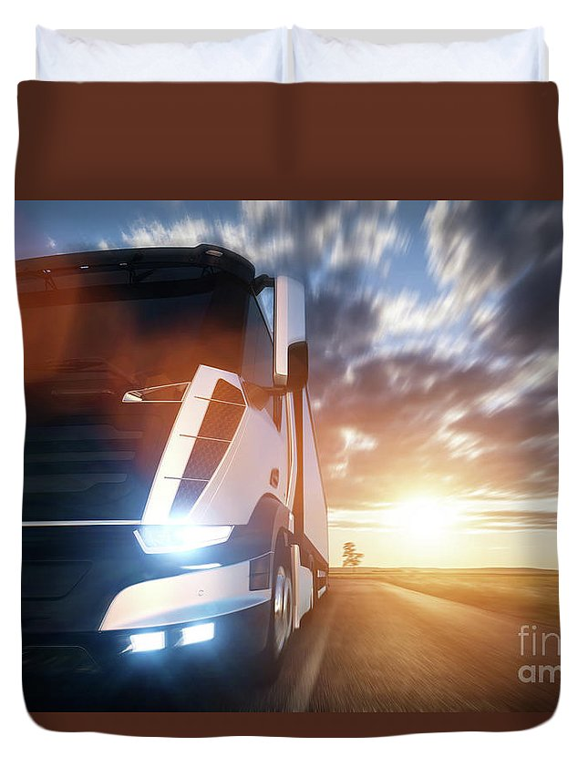Truck Duvet Cover featuring the photograph Commercial Cargo Delivery Truck With Trailer Driving On Highway At Sunset. by Michal Bednarek