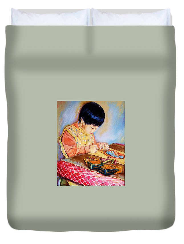 Beautiful Child Duvet Cover featuring the painting Commission Portraits Your Child by Carole Spandau