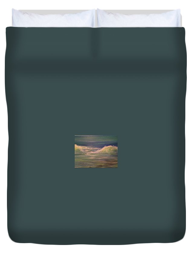 Seascape Painting Duvet Cover featuring the painting Commissioned Seascape by Heather Roddy