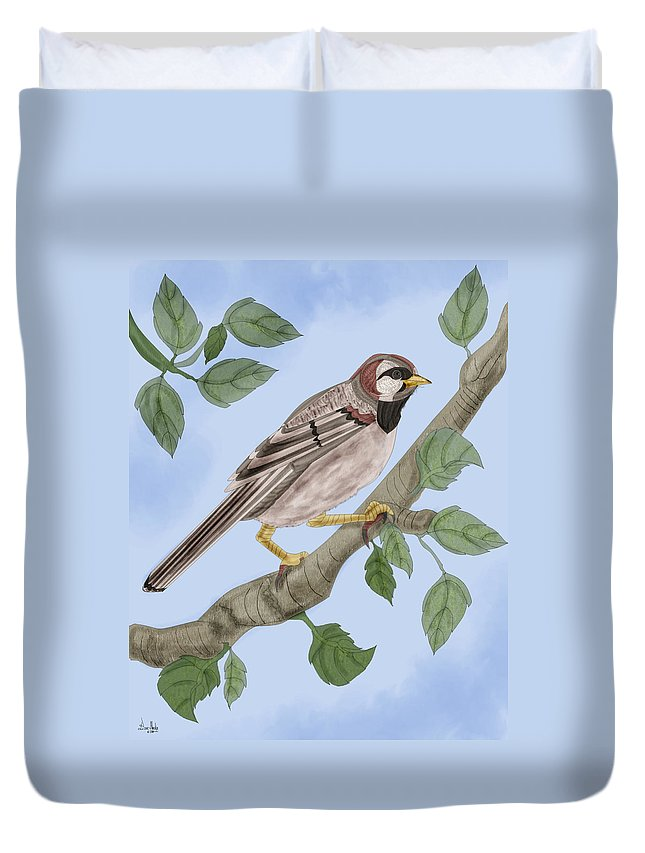 Sparrow Duvet Cover featuring the painting Common House Sparrow by Anne Norskog