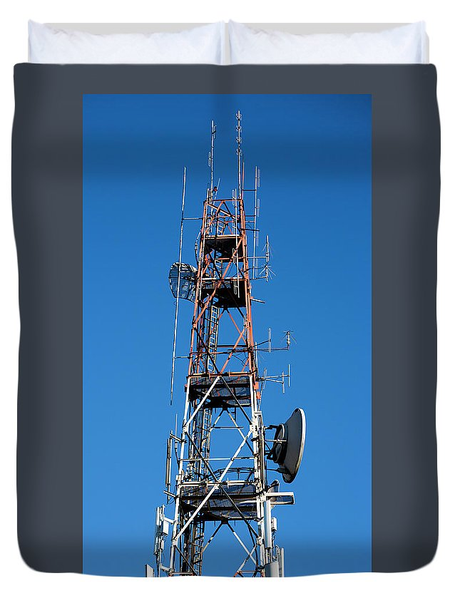 Antenna Duvet Cover featuring the photograph Communications Tower by Daniel Hagerman