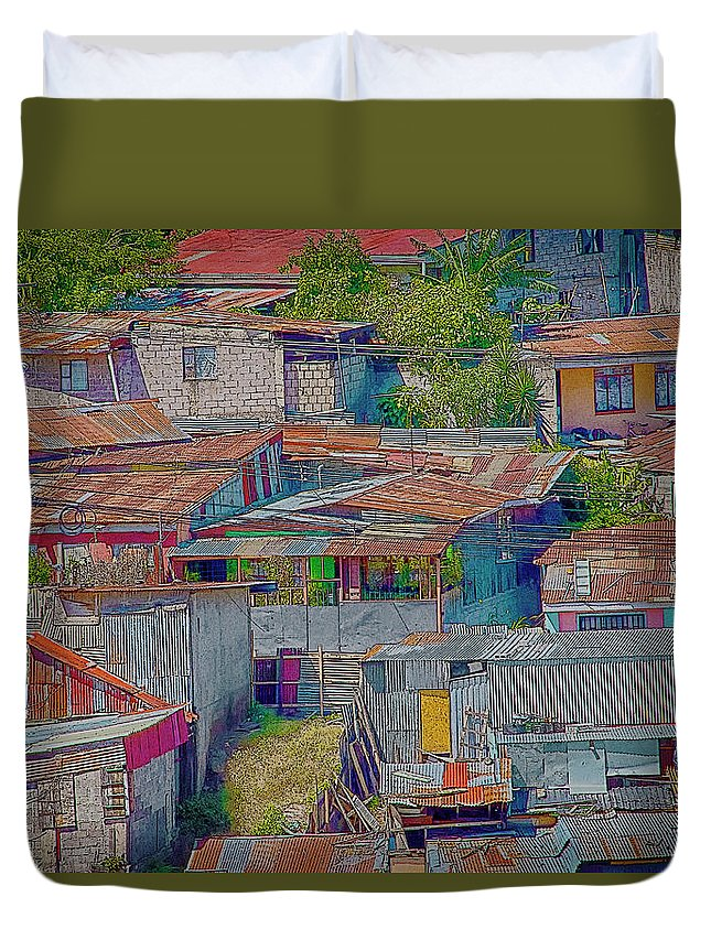 Colorful Duvet Cover featuring the photograph Community Of Tin by Jessica Levant