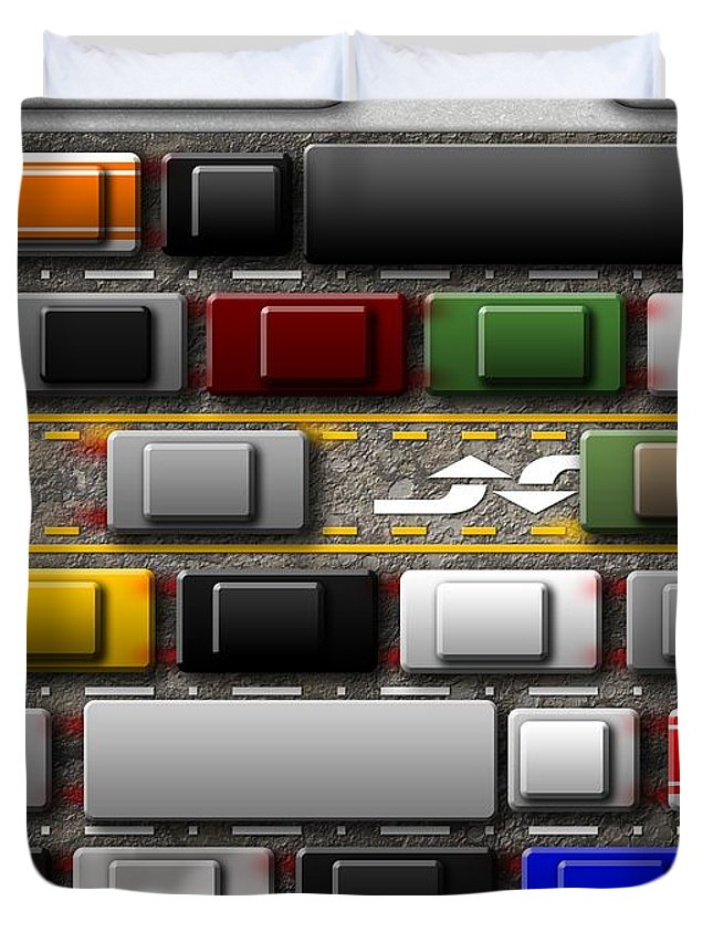 Abstract Duvet Cover featuring the digital art Commuter by James Kramer