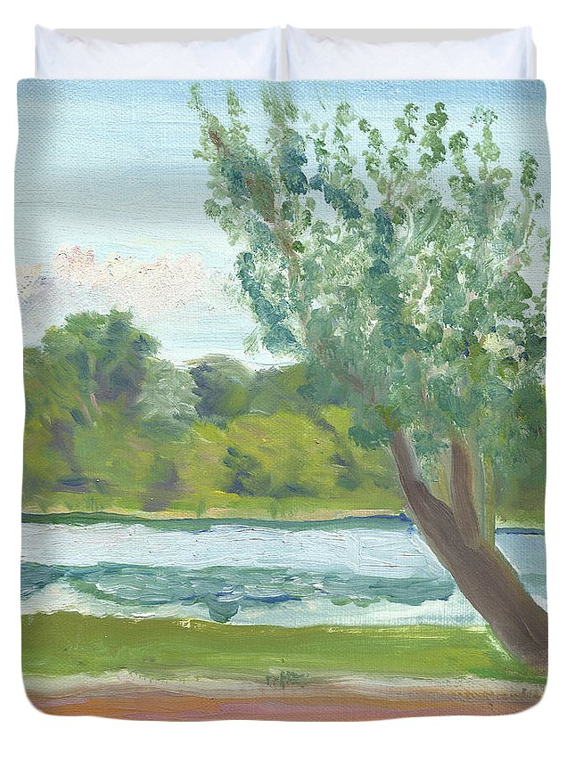 Como Park Duvet Cover featuring the painting Como Lake By The Pavilion by Paul Thompson
