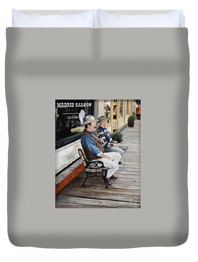 Friends Duvet Cover featuring the painting Compadres by Mary Rogers