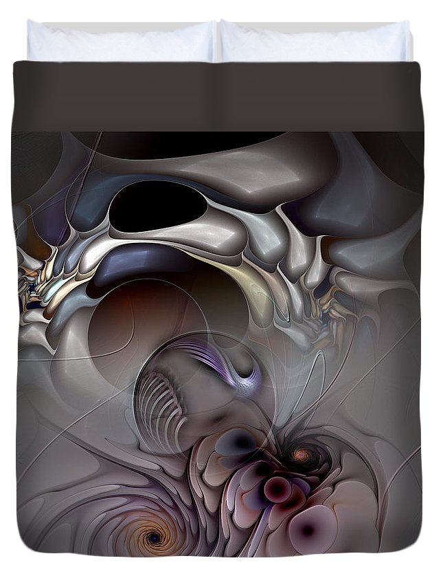 Abstract Duvet Cover featuring the digital art Compartmentalized Delusion by Casey Kotas