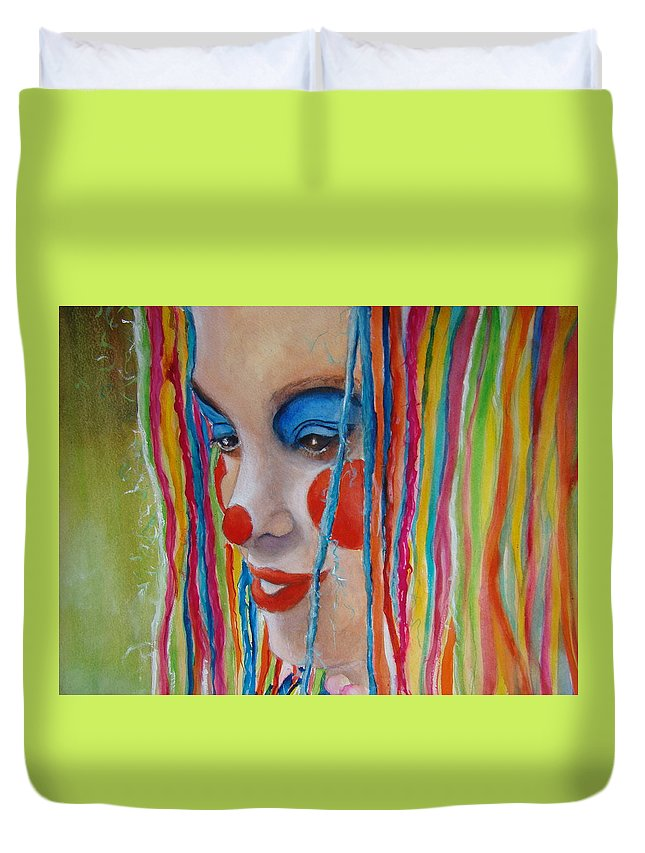 Clowns Duvet Cover featuring the painting Complementary by Myra Evans