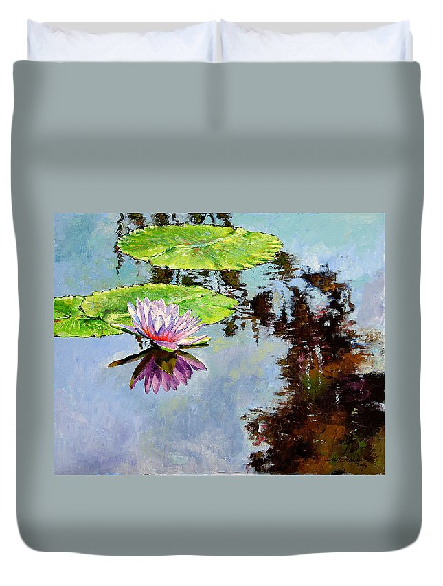 Water Lily Duvet Cover featuring the painting Composition Of Beauty by John Lautermilch