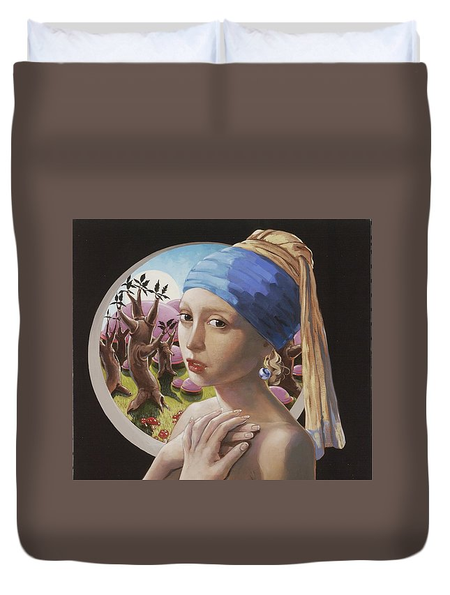 Interpretation Of Girl With A Pearl Earring Duvet Cover featuring the painting Compulsion by Jerrold Carton