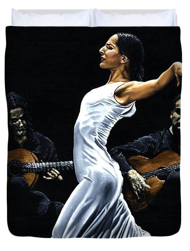 Flamenco Duvet Cover featuring the painting Concentracion Del Funcionamiento Del Flamenco by Richard Young