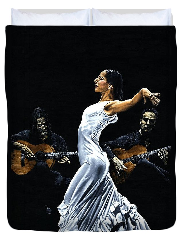 Flamenco Duvet Cover featuring the painting Concentracion del Funcionamiento del Flamenco by Richard Young