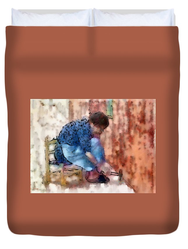 Ebsq Duvet Cover featuring the photograph Concentration by Dee Flouton